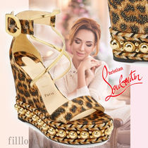 Christian Louboutin Choca Leopard Patterns Open Toe Blended Fabrics Studded Leather