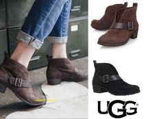 UGG Australia Round Toe Casual Style Plain Leather Chunky Heels