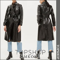 TOPSHOP Casual Style Faux Fur Long Python Trench Coats