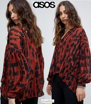 ASOS Leopard Patterns Casual Style Chiffon Street Style V-Neck