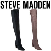 Steve Madden Suede Plain Elegant Style Chunky Heels Over-the-Knee Boots