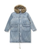 Dezzn Denim Street Style Plain Long Parkas