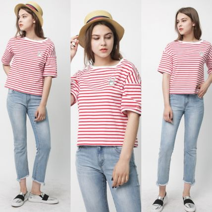 Crew Neck Pullovers Stripes Collaboration Cotton