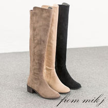 Suede Street Style Plain Block Heels Over-the-Knee Boots