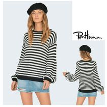 Ron Herman Crew Neck Cable Knit Stripes Casual Style Blended Fabrics