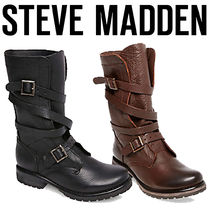 Steve Madden Round Toe Casual Style Plain Leather Mid Heel Boots