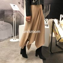 Circle Skirts Plain Medium Midi Elegant Style Midi Skirts