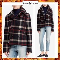 Ralph Lauren Short Other Check Patterns Casual Style Wool Peacoats