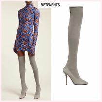 VETEMENTS Casual Style Plain Pin Heels Over-the-Knee Boots
