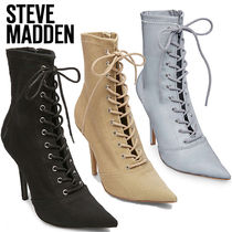 Steve Madden Lace-up Plain Pin Heels Elegant Style Lace-up Boots