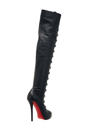 best sneakers 9a51c 3b37e Christian Louboutin Lace-up Plain Leather Pin Heels Elegant Style Lace-up  Boots