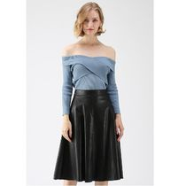 Chicwish Casual Style Plain Medium Off the Shoulder