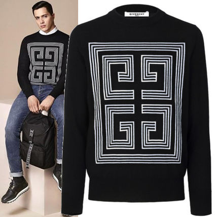 GIVENCHY Knits & Sweaters Crew Neck Pullovers Wool Long Sleeves Plain Knits & Sweaters