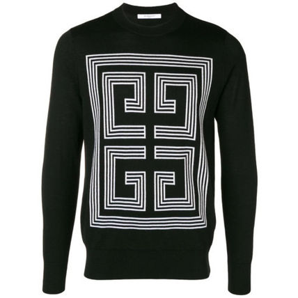 GIVENCHY Knits & Sweaters Crew Neck Pullovers Wool Long Sleeves Plain Knits & Sweaters 2
