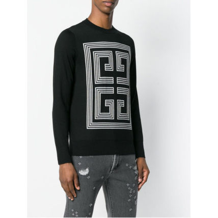 GIVENCHY Knits & Sweaters Crew Neck Pullovers Wool Long Sleeves Plain Knits & Sweaters 3