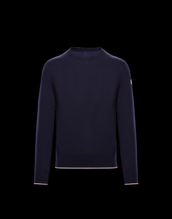 MONCLER Knits & Sweaters Crew Neck Wool Long Sleeves Plain Knits & Sweaters 2
