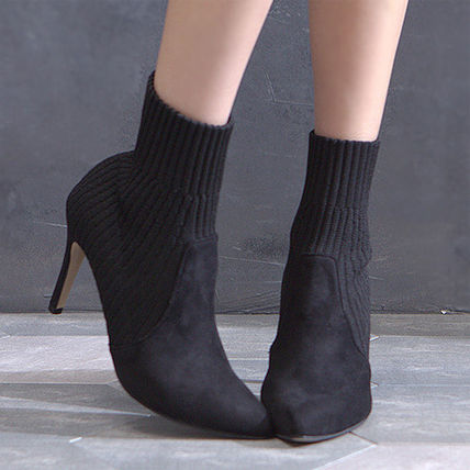 Ankle & Booties Casual Style Suede Plain Pin Heels Ankle & Booties Boots 4
