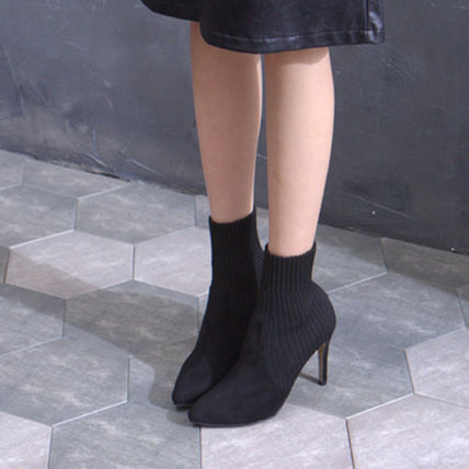Ankle & Booties Casual Style Suede Plain Pin Heels Ankle & Booties Boots 5