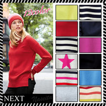NEXT Crew Neck Stripes Casual Style Cashmere Street Style