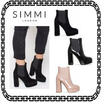 SIMMI Casual Style Suede Street Style Block Heels