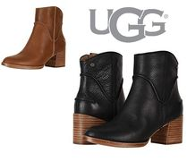 UGG Australia Round Toe Casual Style Street Style Plain Leather