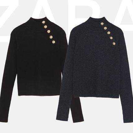 Rib Long Sleeves Plain High-Neck Office Style Sweaters