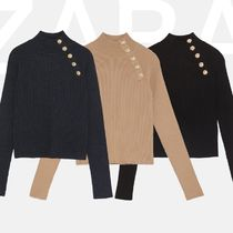 ZARA Rib Long Sleeves Plain High-Neck Office Style Sweaters