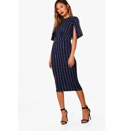 boohoo Crew Neck Stripes Tight Medium Short Sleeves Elegant Style