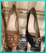 Tory Burch Round Toe Plain Leather Block Heels Elegant Style
