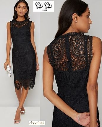 Tight Sleeveless Plain Medium Party Style Lace Dresses