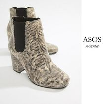 ASOS Round Toe Other Animal Patterns Block Heels Chelsea Boots