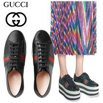 GUCCI Stripes Platform Round Toe Casual Style Street Style Plain