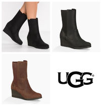 UGG Australia Plain Leather Chelsea Boots Wedge Boots