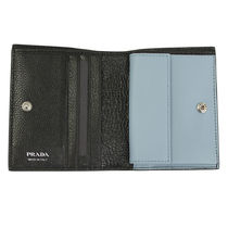 PRADA Leather Folding Wallet Logo Folding Wallets