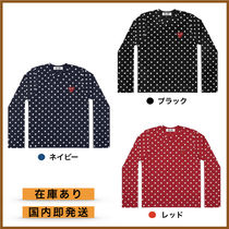 COMME des GARCONS Crew Neck Heart Dots Unisex Street Style Long Sleeves Cotton