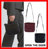 OPEN THE DOOR Casual Style Unisex Street Style Totes
