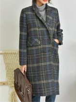 Glen Patterns Casual Style Medium Duffle Coats