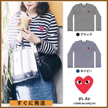 Crew Neck Stripes Heart Unisex Street Style Long Sleeves