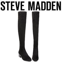 Steve Madden Suede Plain Block Heels Elegant Style Over-the-Knee Boots