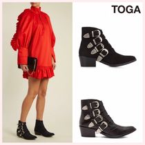 TOGA Casual Style Plain Leather Block Heels Ankle & Booties Boots