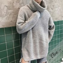 Pullovers Street Style Long Sleeves Plain Oversized