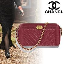 CHANEL Casual Style Calfskin 2WAY Chain Plain Clutches