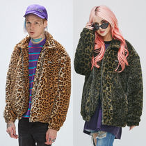 SAINTPAIN Leopard Patterns Unisex Faux Fur Street Style Coach Jackets