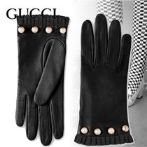 GUCCI Plain Leather Elegant Style Leather & Faux Leather Gloves