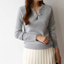 Long Sleeves Plain Angola Elegant Style Knitwear