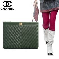 CHANEL Calfskin Bag in Bag 2WAY Plain Clutches