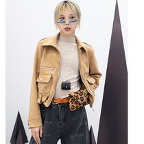 Short Casual Style Suede Plain Jackets