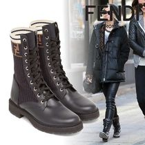 FENDI Monogram Mountain Boots Round Toe Rubber Sole Casual Style