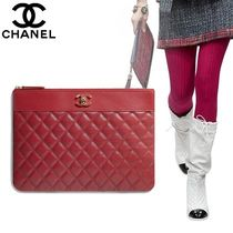 CHANEL Bag in Bag 2WAY Plain Leather Clutches