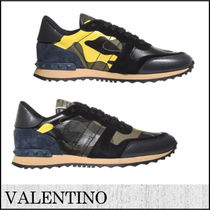 VALENTINO Camouflage Suede Blended Fabrics Studded Street Style